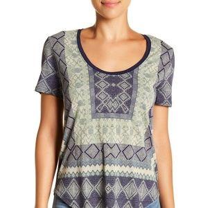 Lucky Brand T Shirt Border Print Tee Sz M